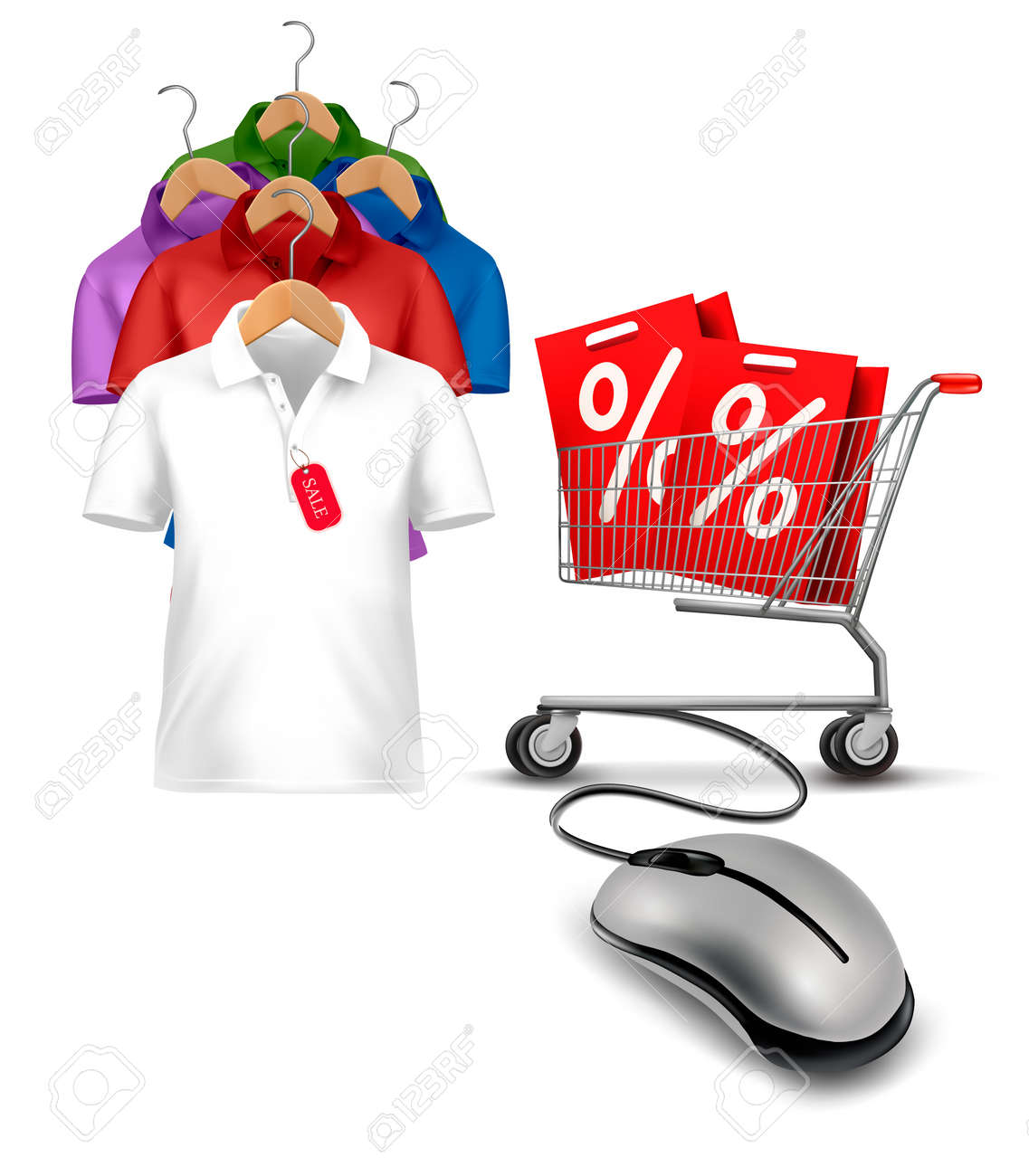 Different hangers with shirts and a computer mouse attached to a shopping cart. Concept of e-shopping and sale. Vector. Stock Vector - 21264049