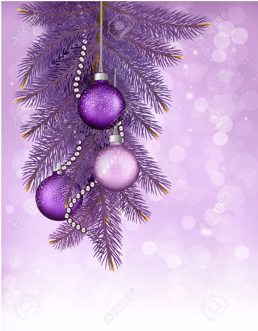 Christmas background with balls and branches. Vector illustration Stock Vector - 23076258