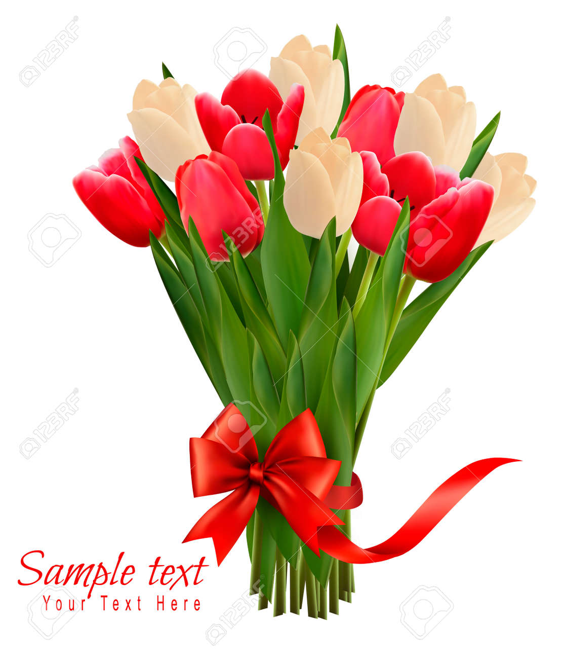 Holiday background with bouquet of colorful flowers with bow and ribbon. Vector illustration - 36944661