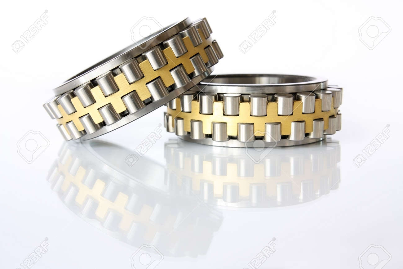 It shows  two radial - thrust bearing on a white background Stock Photo - 6634700