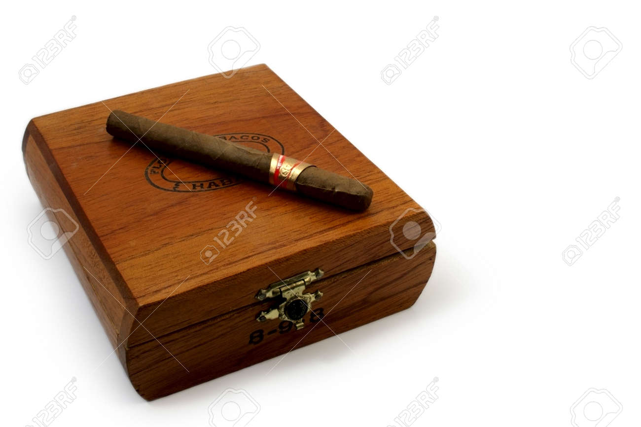 Left Last Cigar On Brown Wooden Box Stock Photo 2515980