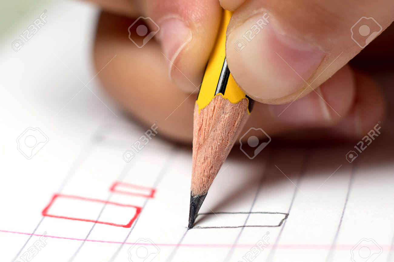 Graphomotor skills. Education concept. The hand writes rectangle. Close up. - 62460836