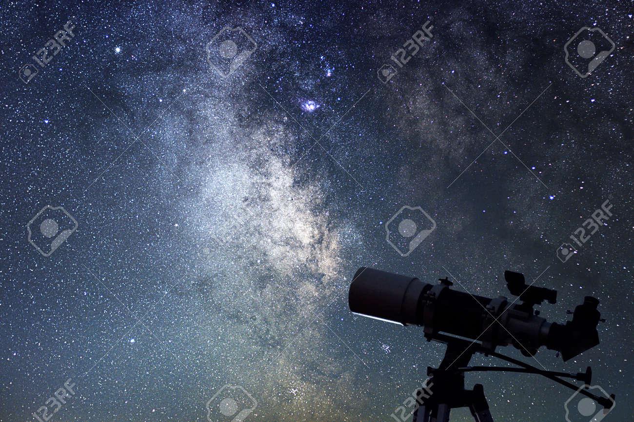 Telescope in starry night. Milky way and telescope. Astronomy - 63398206