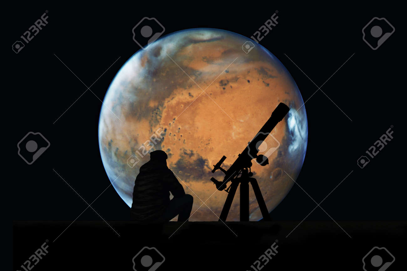 Man with telescope looking at the stars. Mars planet, isolated on black.Elements of this image are furnished by NASA. - 83034375