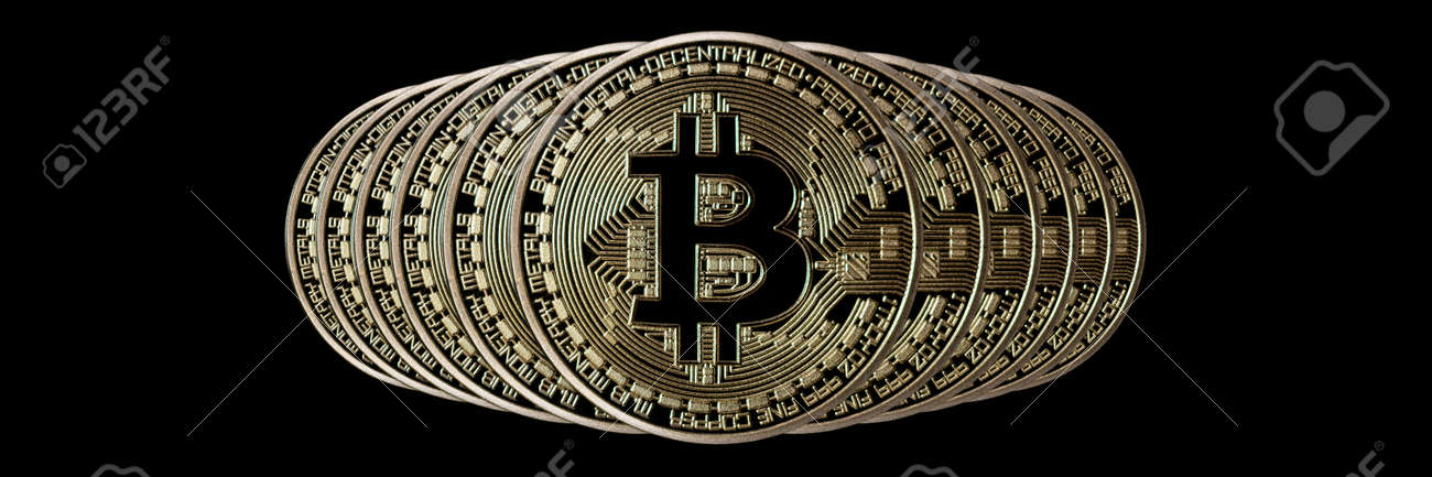 Bitcoin Banner Header Gold Coin Cryptocurrency With Space For Your Own Text Stock Photo