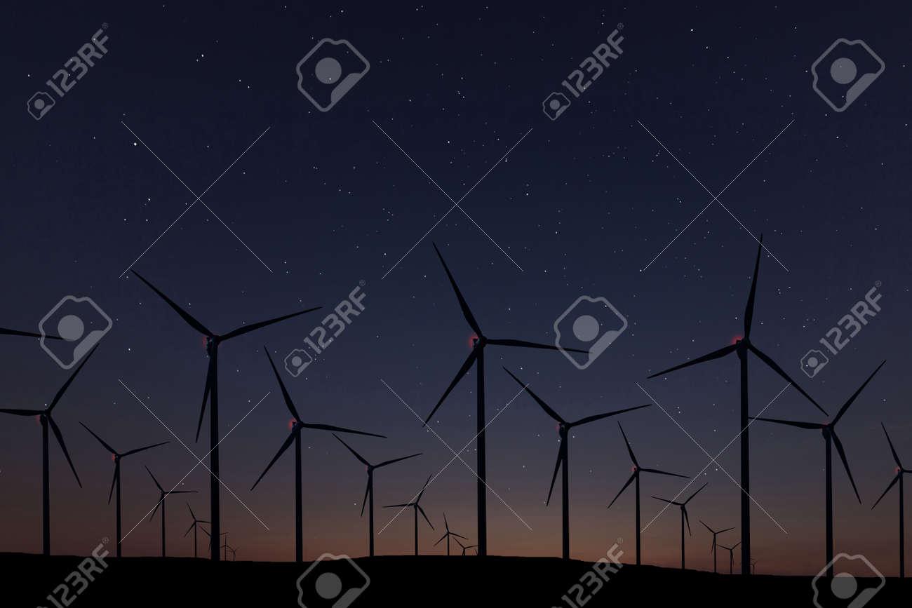 Night Sky Over Wind Farm. Energy and nature Night Sky. - 95458172