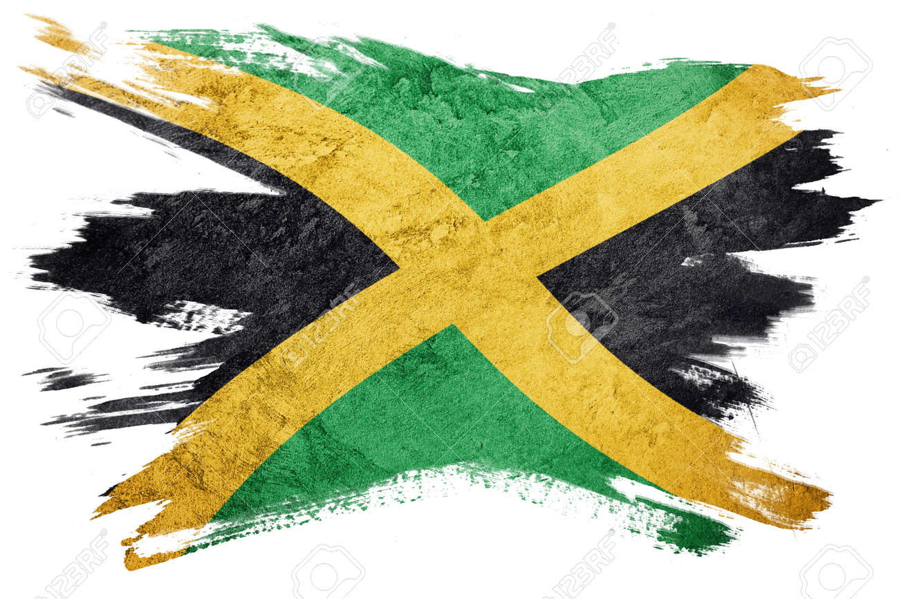 Grunge Jamaica flag  Jamaica flag with grunge texture  Brush