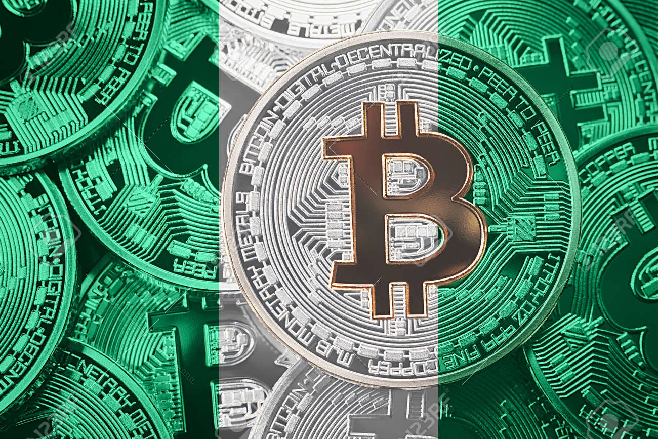 Stack Of Bitcoin Nigeria Flag Bitcoin Cryptocurrencies Concept -