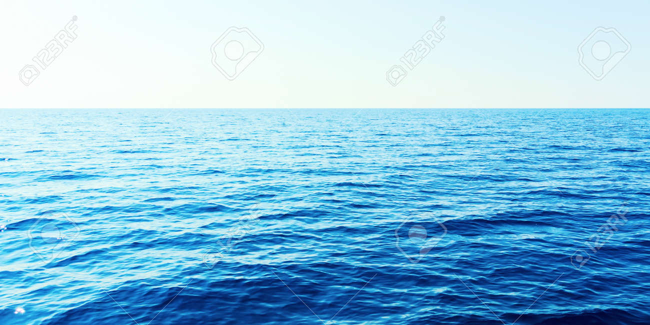 Blue sea and clear sky. Caribbean sea. - 123911336