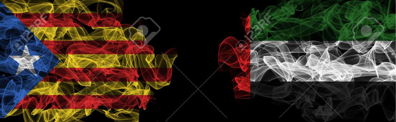 Flags of Catalonia and UAE on Black background, Catalonia vs United Arab Emirates Smoke Flags - 140934798