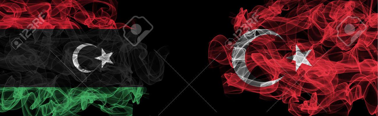 Flags of Libya and Turkey on Black background, Libya vs Turkey Smoke Flags - 140714620