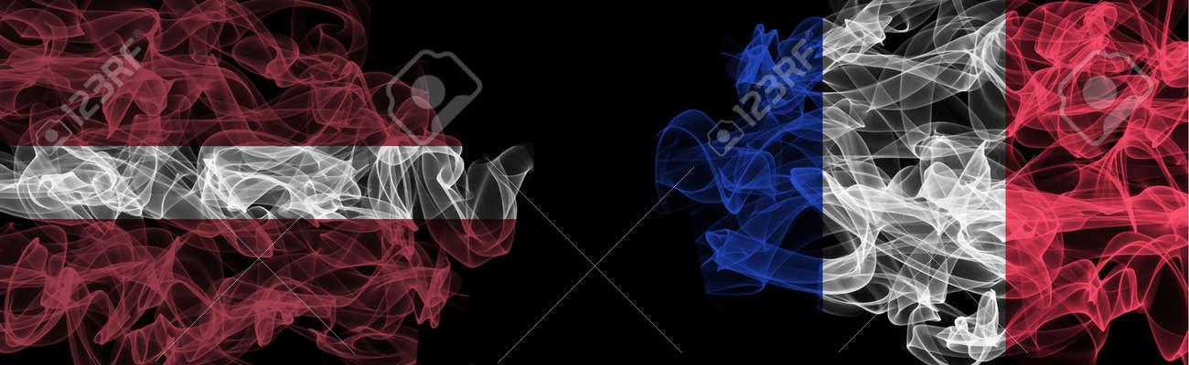 Flags of Latvia and France on Black background, Latvia vs France Smoke Flags - 140714946