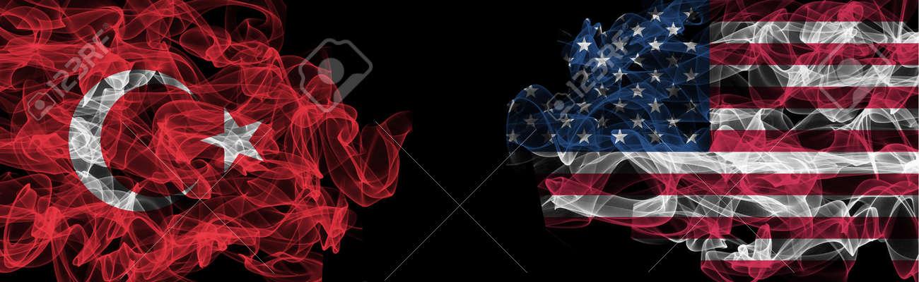 Flags of Turkey and USA on Black background, Turkey vs USA Smoke Flags - 140715997