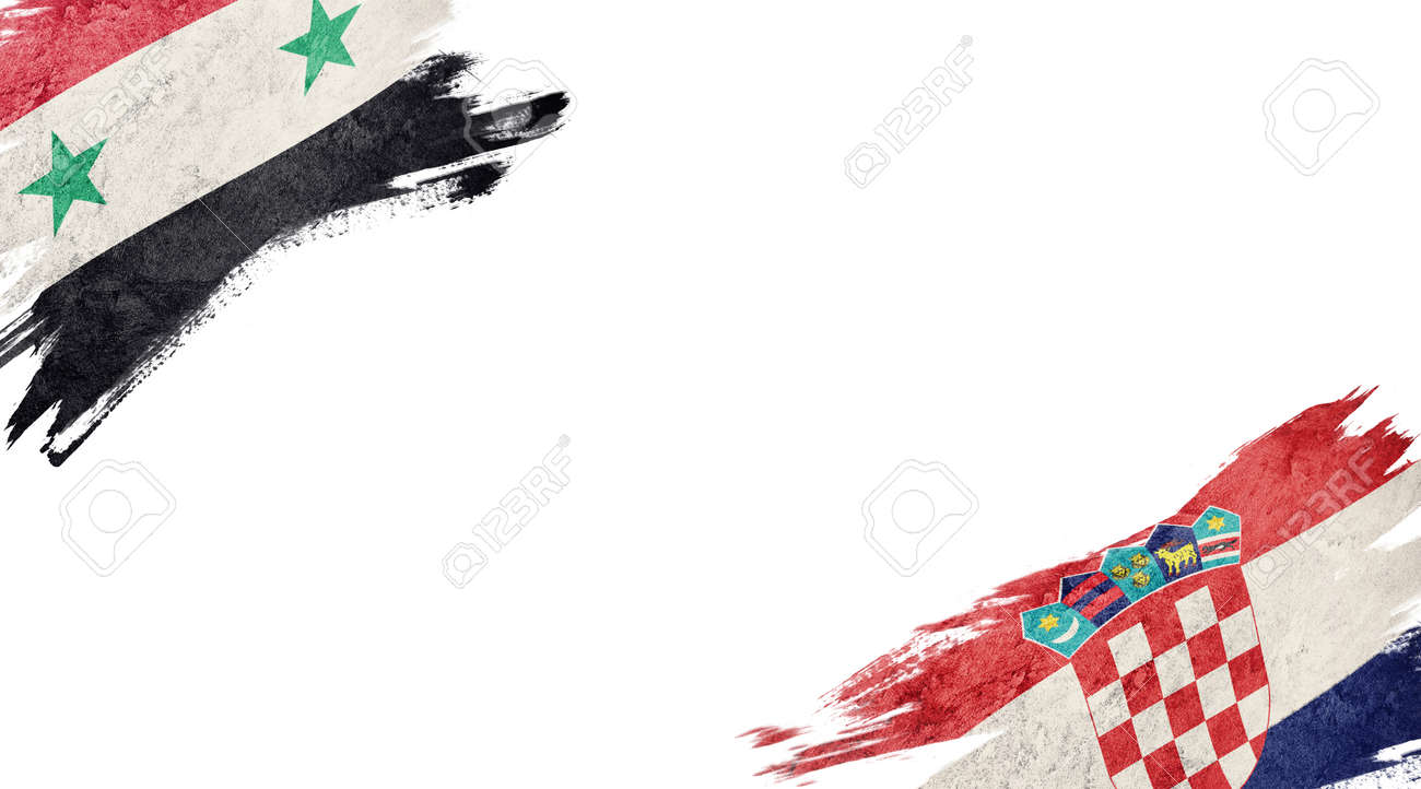 Flags of Syria and Croatia on white background - 140741912