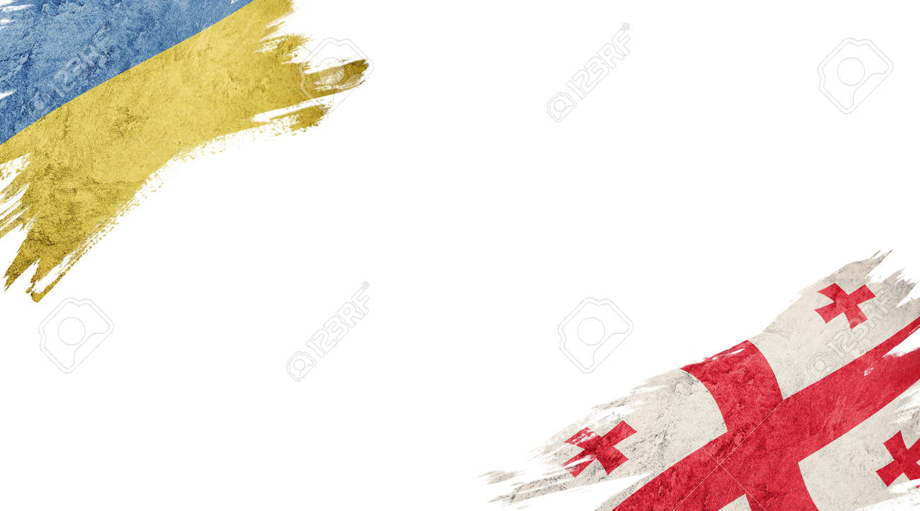 Flags of Ukraine and Georgia on white background - 140742210
