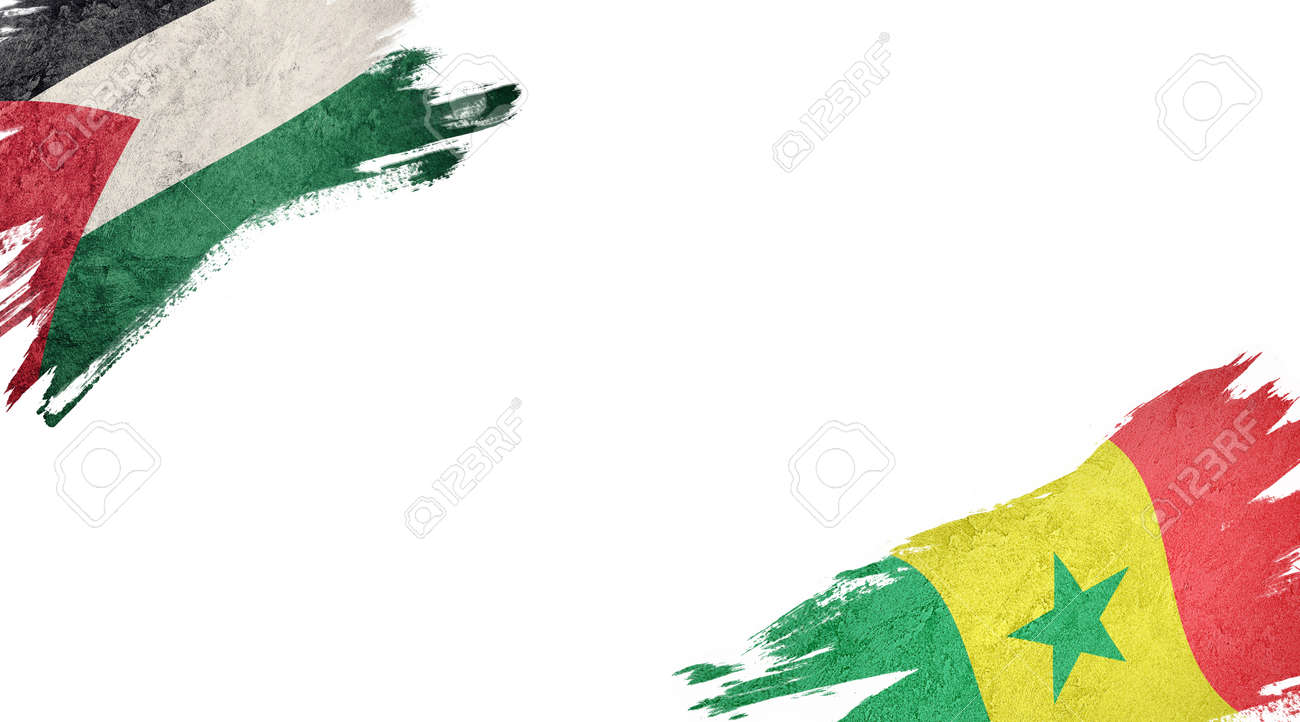 Flags of Palestine and Senegal on white background - 140736885