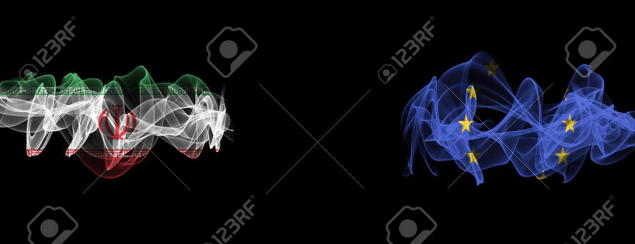 Flags of Iran and EU on Black background, Iran vs Europe Union Smoke Flags - 140769735
