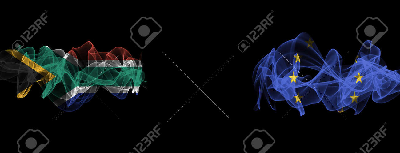 Flags of South Africa and EU on Black background, South Africa vs Europe Union Smoke Flags - 140770644