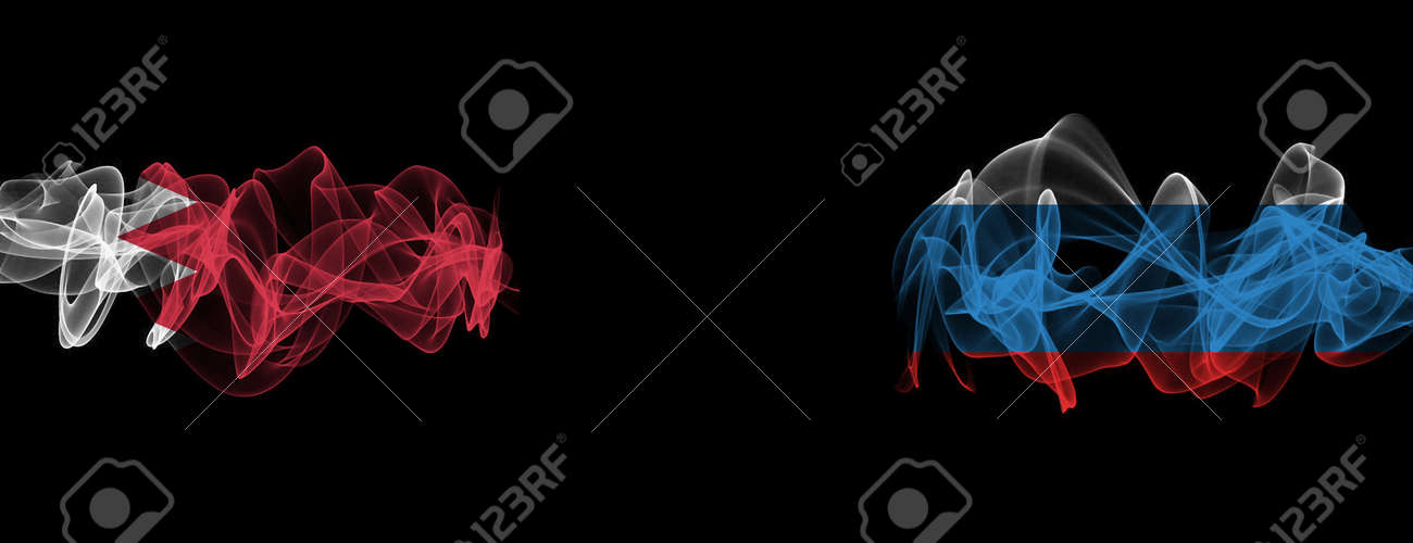 Flags of Bahrain and Russia on Black background, Bahrain vs Russia Smoke Flags - 140771636