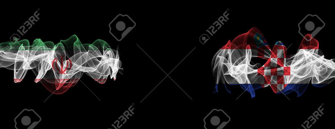 Flags of Iran and Croatia on Black background, Iran vs Croatia Smoke Flags - 141127012