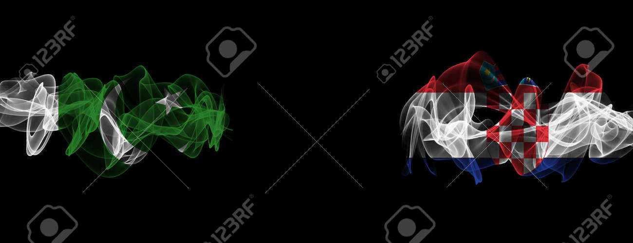 Flags of Pakistan and Croatia on Black background, Pakistan vs Croatia Smoke Flags - 141128404