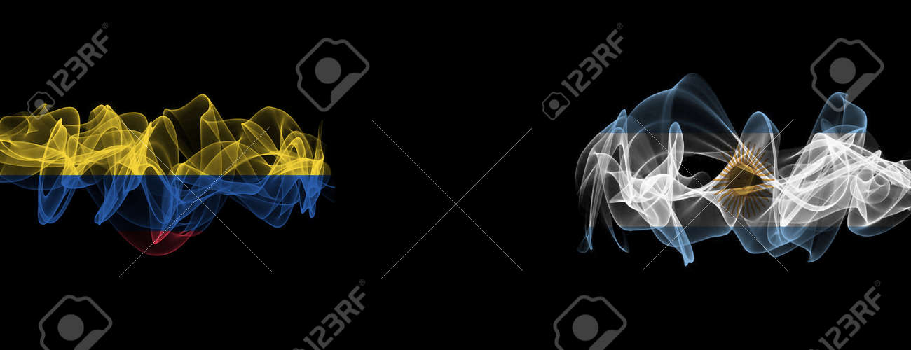 Flags of Colombia and Argentina on Black background, Colombia vs Argentina Smoke Flags - 141143490