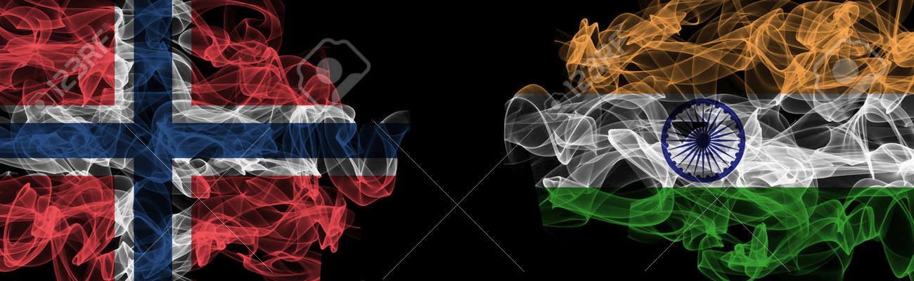 Flags of Norway and India on Black background, Norway vs India Smoke Flags - 141143747