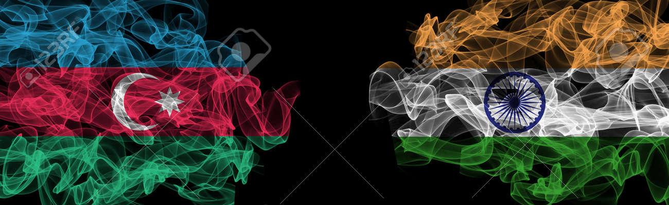 Flags of Azerbaijan and India on Black background, Azerbaijan vs India Smoke Flags - 141143821