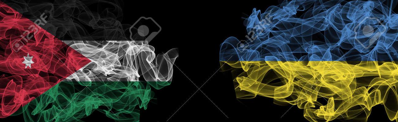 Flags of Jordan and Ukraine on Black background, Jordan vs Ukraine Smoke Flags - 141143820