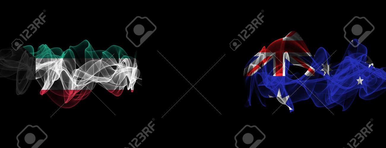 Flags of Kuwait and Australia on Black background, Kuwait vs Australia Smoke Flags - 141143857