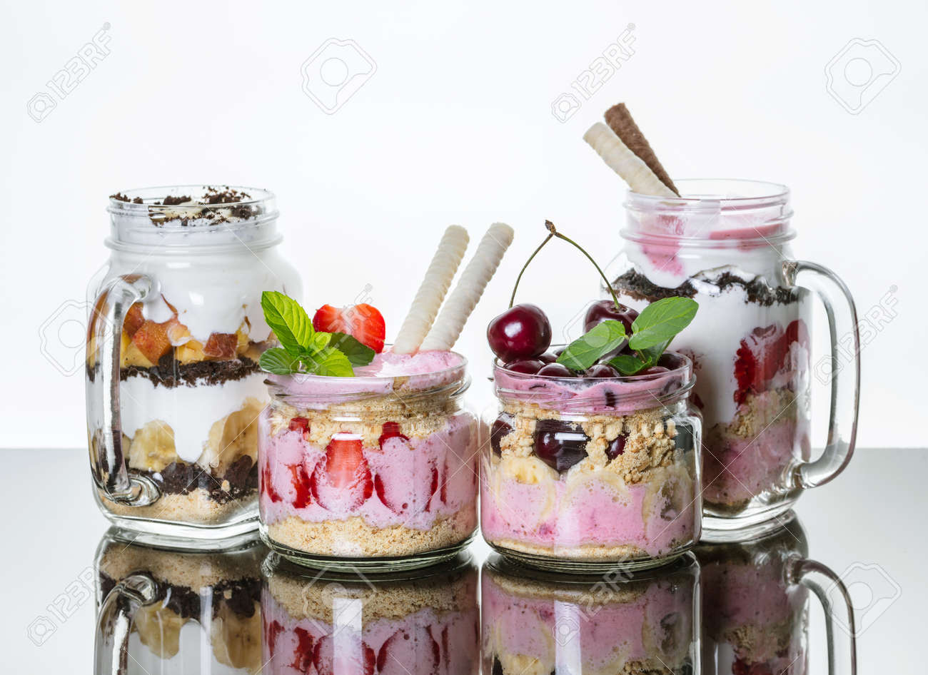 Fruit Desserts In A Jar With Reflection On Light Background Stock Photo    80875865