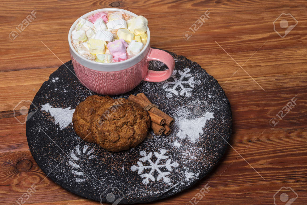 Hot Drink With Marshmallow And Oatmeal Cookies. Christmas And ...