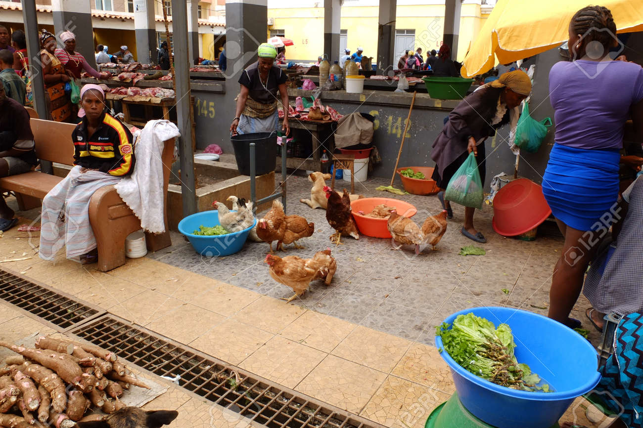 Assomada, Cape Verde - December 5, 2012: view on the African market place.  Stock Photo - 16870107