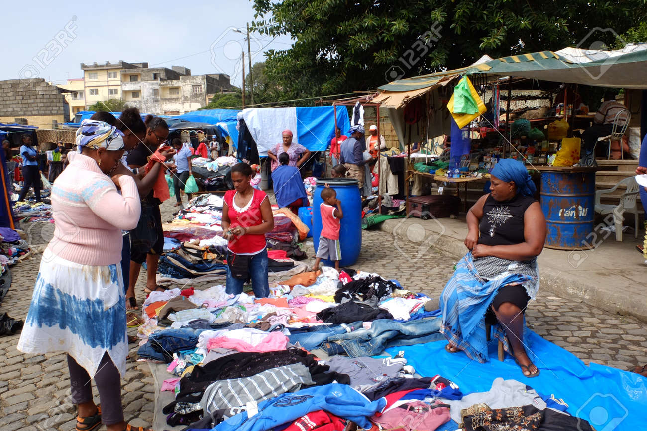 Assomada, Cape Verde - December 5, 2012: Clothes to sell at the African street market. Stock Photo - 16870108