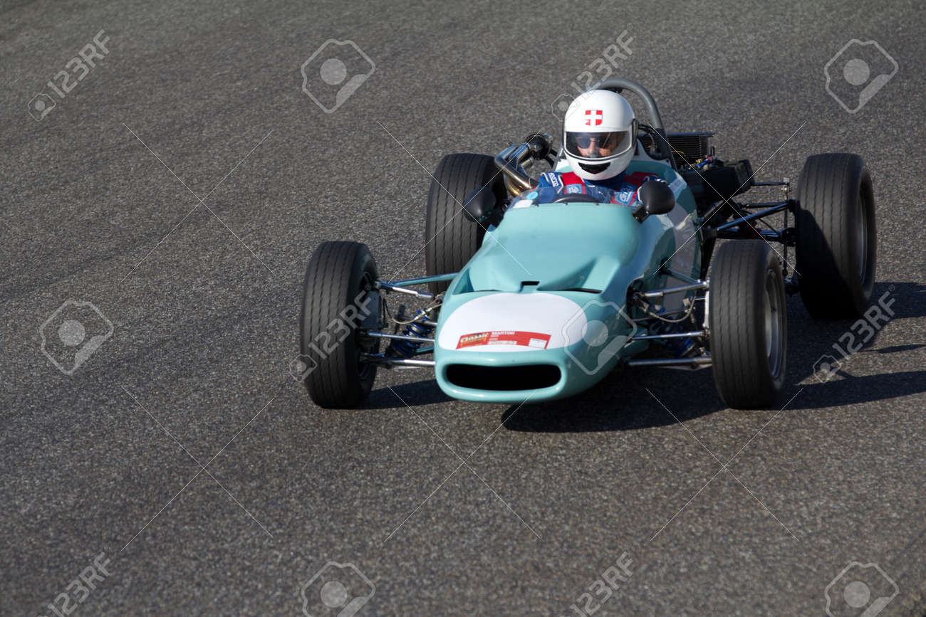 NOGARO, FRANCE - OCTOBER 9: Old Race Car Is Moving Fast On A.. Stock ...