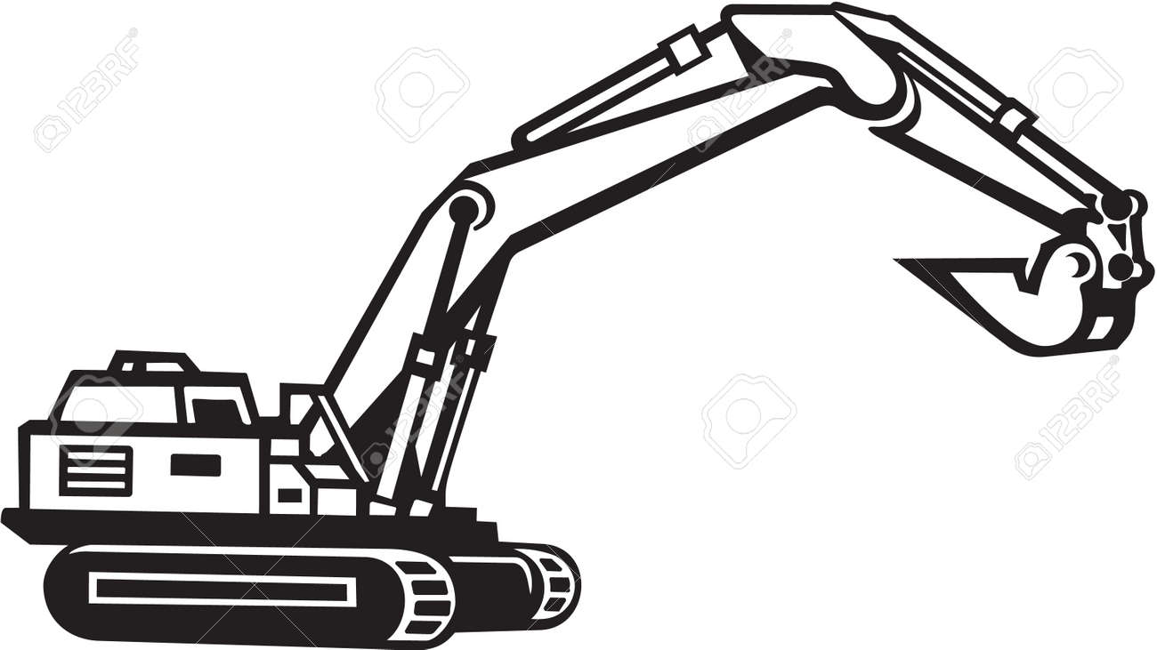 backhoe excavator vinyl ready royalty free cliparts vectors and