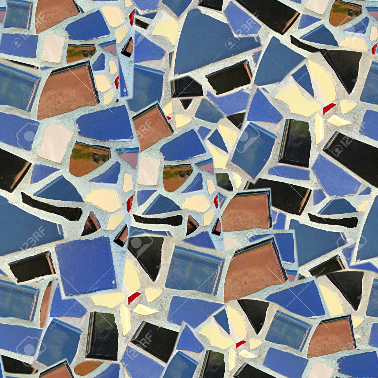 Broken Tile Mosaic Seamless Texture Tile Stock Photo, Picture And ...