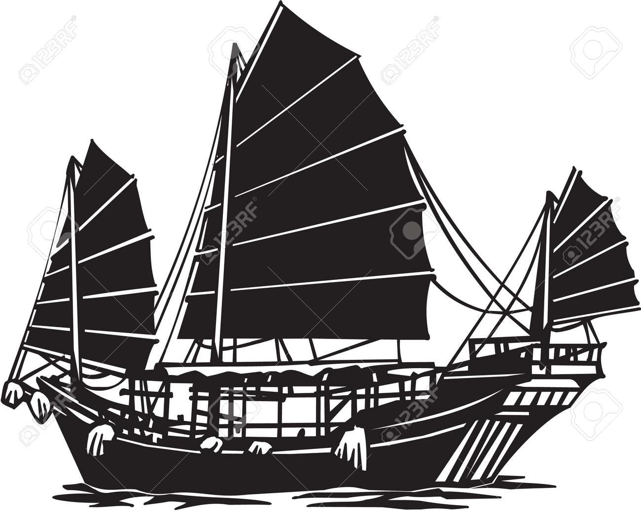 Chinese Junk Vinyl Ready Illustration Stock Vector - 14353847