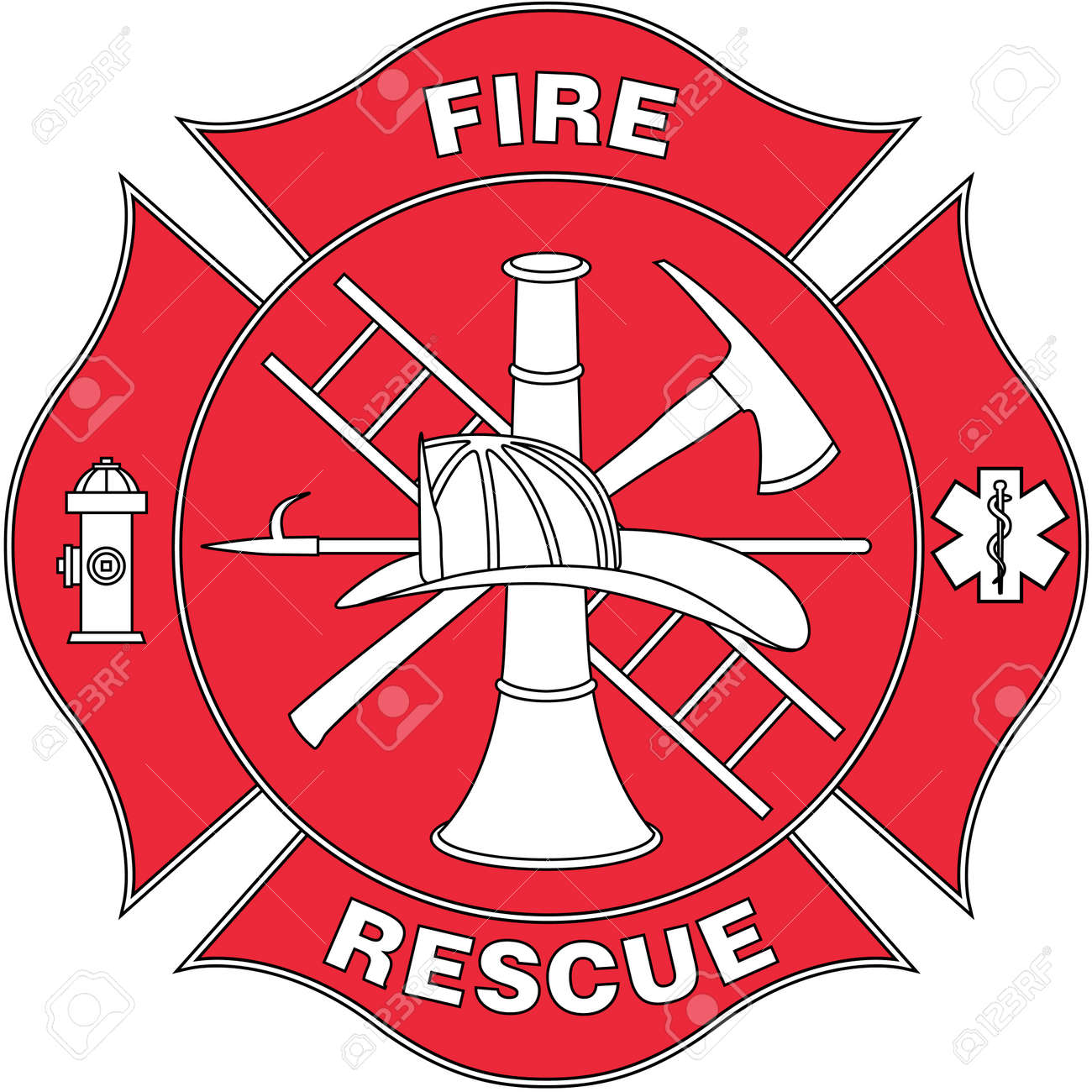 fire and rescue logo illustration royalty free cliparts vectors