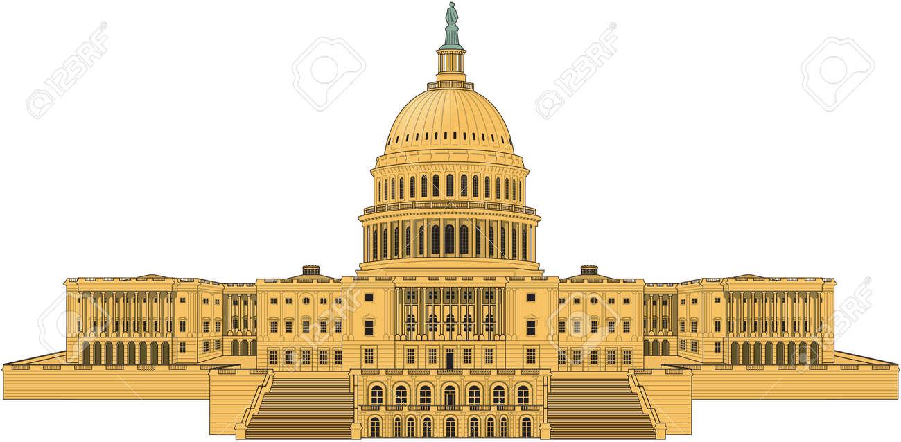 米国国会議事堂の建物のイラスト。 ロイヤリティフリークリップアート