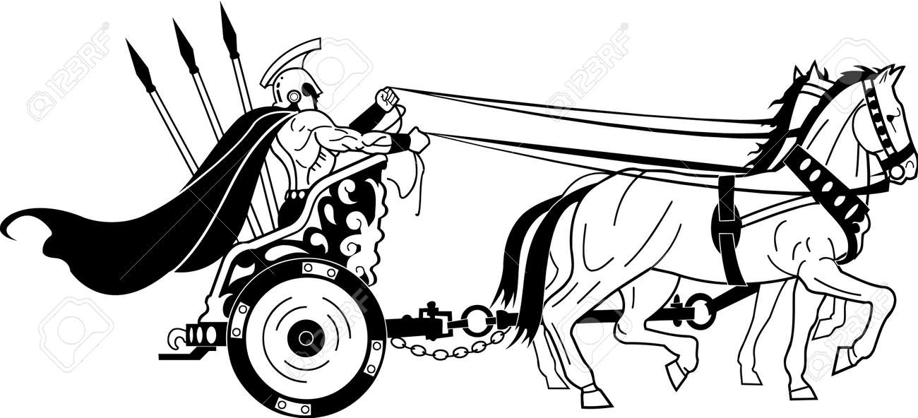 Roman Warrior In Chariot Illustration Royalty Free Cliparts, Vectors ...