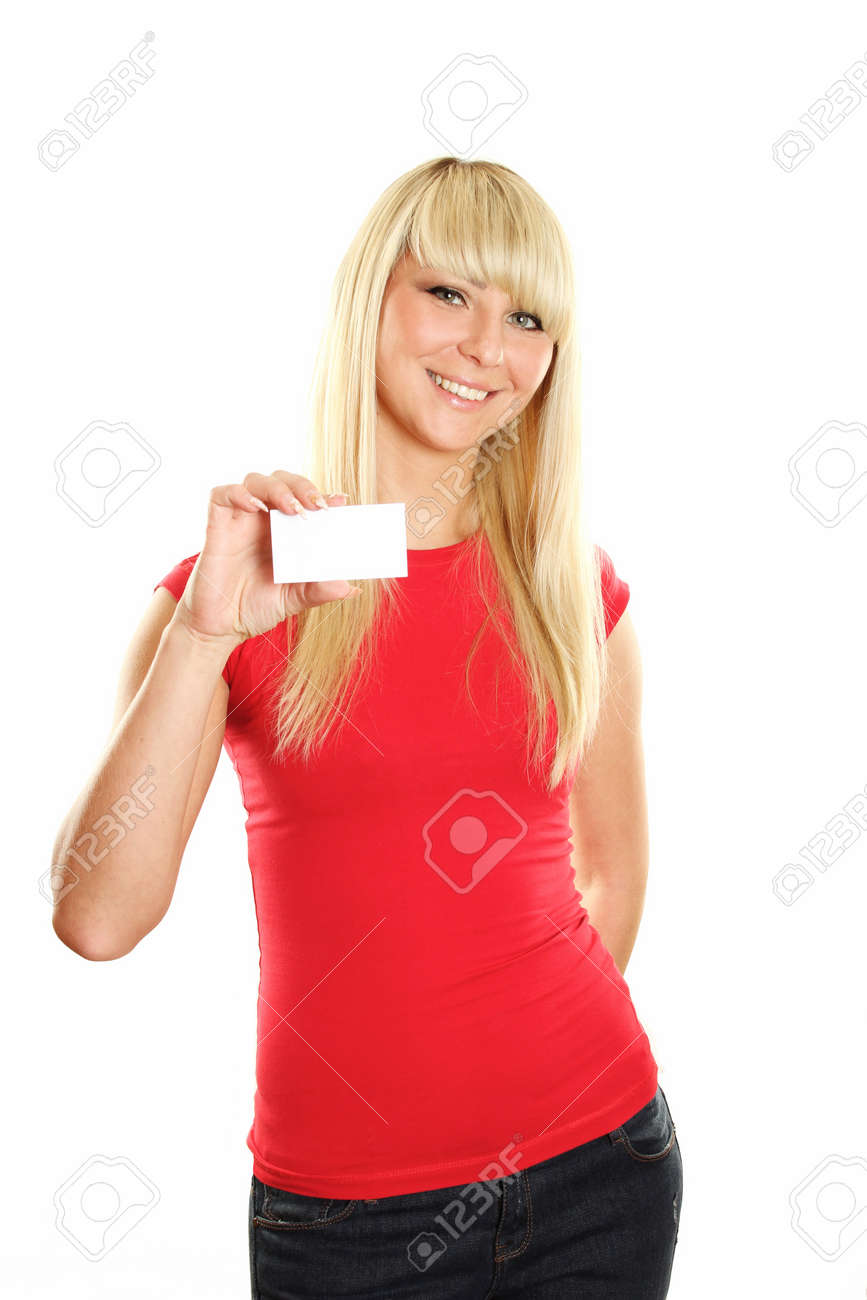 Business card woman Stock Photo - 9537867