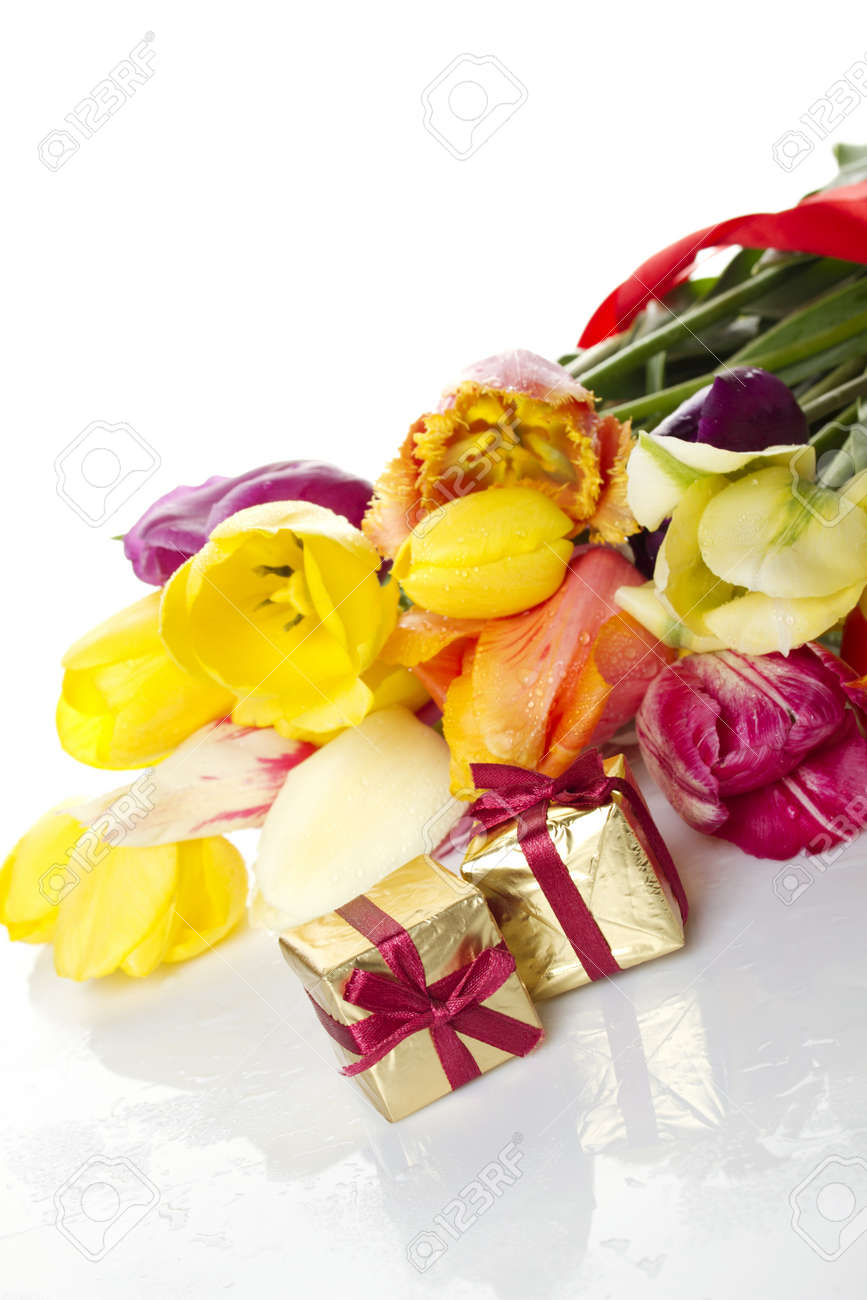Tulips and two gift box Stock Photo - 10442230