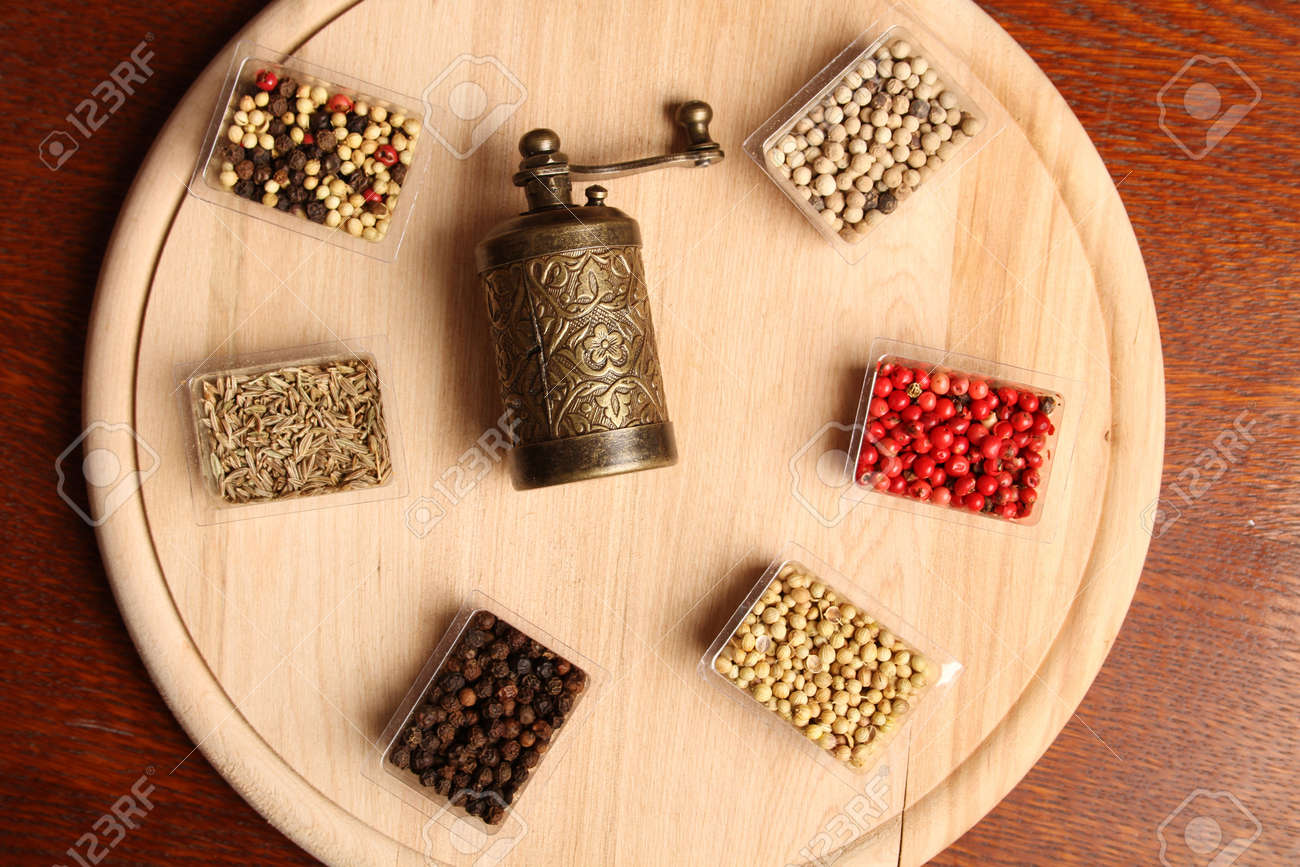 Close-up of six species of spices and Mill Stock Photo - 17689684