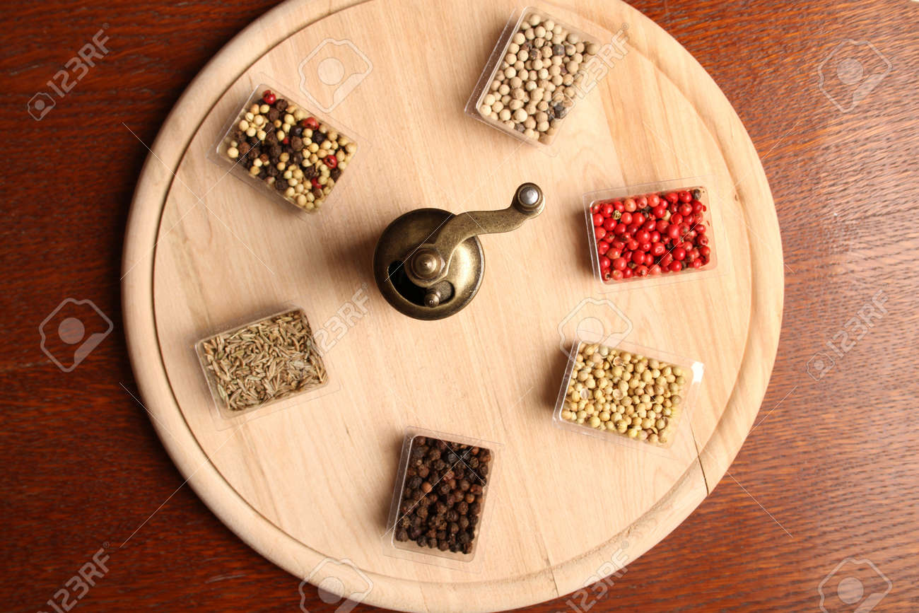 Close-up of six species of spices and Mill Stock Photo - 17689678