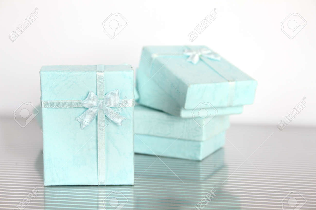 Close Up Of A Lot Of Small Gift Boxes For Jewelry