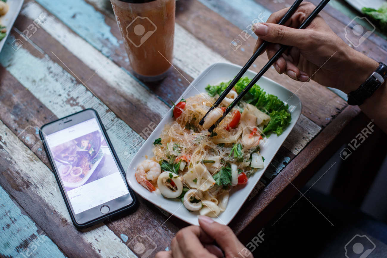 Food Photography Close Up Thai Cuisine Dish With Hand Model Holding ...