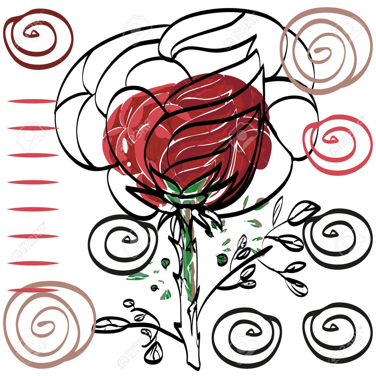 Dessin Vectoriel D Une Rose Rouge Avec Un Contour Noir Dechire D Une