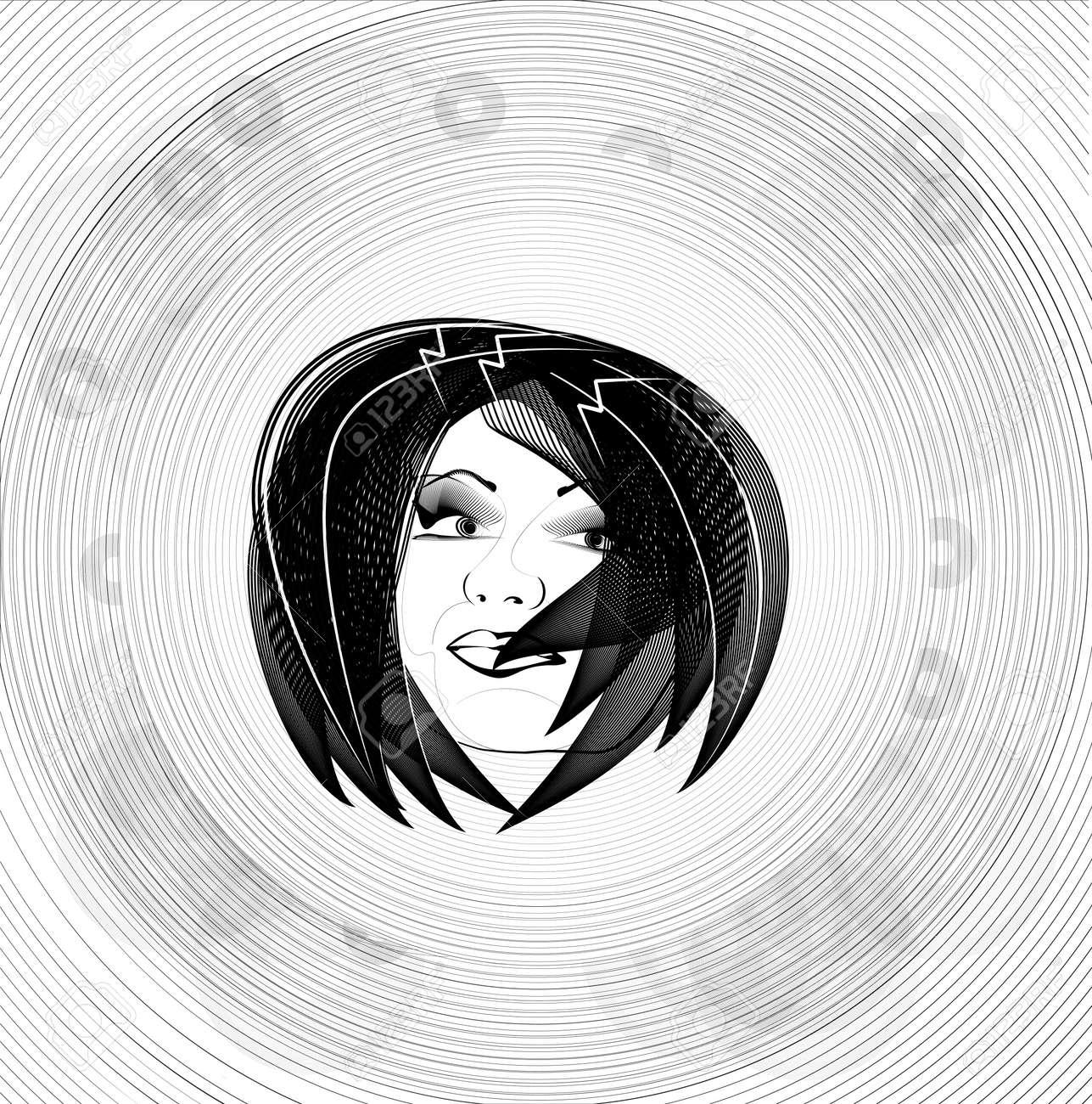 Dessin Au Trait Noir Et Blanc De La Tête Le Visage De La Femme Croquis Yeux De Vecteurs De Contour Des Lèvres Face à Cheveux Regarder Obliquement