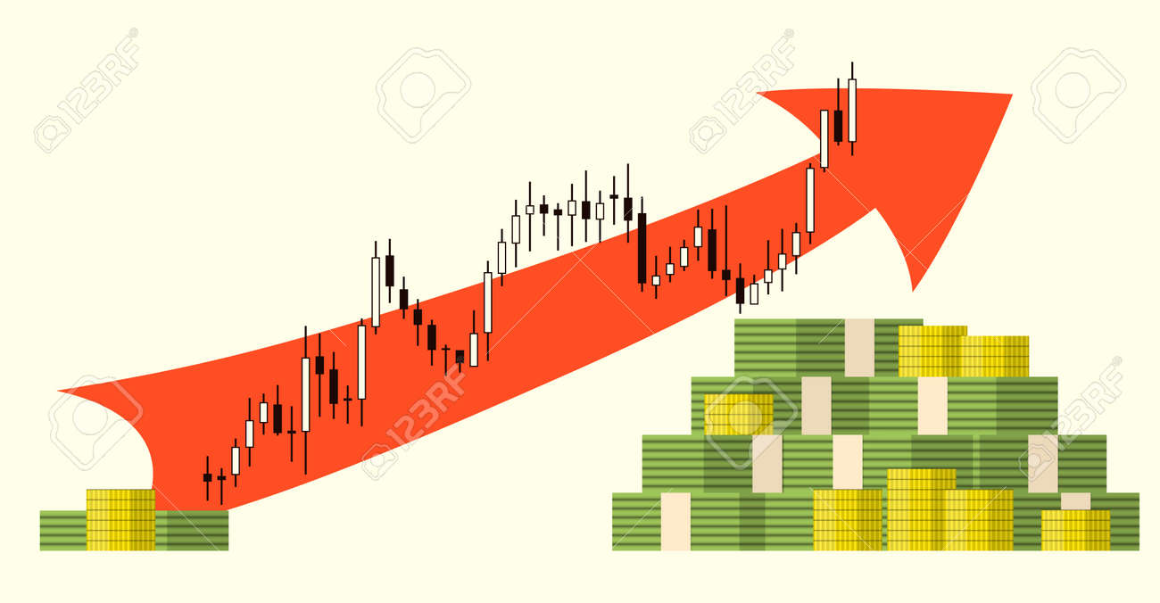 Pack Of Paper And Coin Money Dollars On Forex Stock Chart Background